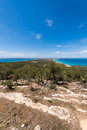 Aerial view formentera island ibiza horizon spain mediterranean sea Stock Photography
