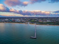Aerial view of Frankston Pier and beach Royalty Free Stock Photo
