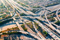 Aerial view of a freeway intersection in Los Angeles Royalty Free Stock Photo