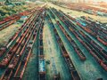 Aerial view of freight trains. Top view of old rusty wagons Royalty Free Stock Photo