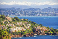 Aerial view of the french riviera with sea and alps Royalty Free Stock Image