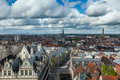 Aerial view of ghent from belfry ghent belgium medieval town Stock Photography