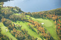 Aerial view of golf course in autumn an a minnesota during Stock Image