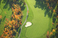 Aerial view of golf course during autumn minnesota Royalty Free Stock Image
