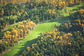 Aerial view of golf course in the fall a midwestern Royalty Free Stock Photography