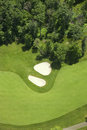 Aerial view of a golf fairlway and bunkers Royalty Free Stock Photos