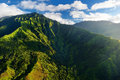 Aerial view of green fields on kauai hawaii stunning spectacular jungles Royalty Free Stock Photo