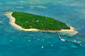 Aerial view of Green Island reef at the Great Barrier Reef Queen Royalty Free Stock Photo