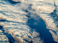 Aerial view of greenland mountains in Royalty Free Stock Photography