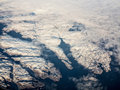 Aerial view of greenland mountains in Stock Photography