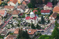 Aerial view of groaveri church from brasov romania known as the st paraskeva was originally a chapel cemetery founded in with the Stock Image