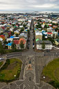 Aerial view from hallgrimskirkja church on reykjavik downtown and harbor iceland Stock Photos