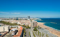 Aerial view of the Harbor district in Barcelona Royalty Free Stock Images