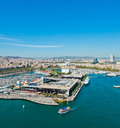 Aerial view of the Harbor district in Barcelona Royalty Free Stock Photos