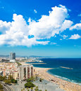 Aerial view of the harbor district in barcelona spain Stock Image