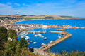 Aerial view of harbour at Stonehaven bay, Aberdeenshire Royalty Free Stock Photo