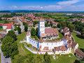 Aerial view of Harman Saxon Fortified Church in the village of H Royalty Free Stock Photo