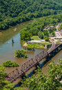 Aerial view of Harpers Ferry Train Tracks, West Virginia seen from Maryland Heights Overlook Royalty Free Stock Photo
