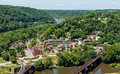 Aerial view of Harpers Ferry, West Virginia seen from Maryland H Royalty Free Stock Photo