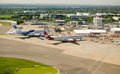 Aerial view of heathrow airport london england june from the air london s on june expansion the is a political controversy Stock Photography