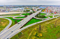 Aerial view of highway interchange of modern urban tyumen russia september bird eye onto outcome roads on moscow path with bypass Stock Photography