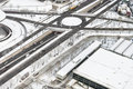 Aerial View of Highway with Snow Royalty Free Stock Images