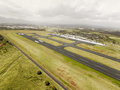 Aerial view of hilo international airport runway hawaii with cloudy sky Royalty Free Stock Photos
