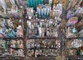 Aerial view of Hong Kong apartments in cityscape background, Sham Shui Po District. Residential district in smart city in Asia. T