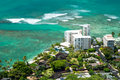 Aerial view of Honolulu and Waikiki beach from Diamond Head Royalty Free Stock Photo