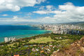 Aerial view of honolulu and waikiki beach from diamond heat head Stock Photos
