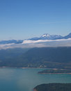 Aerial View of Hood Canal and Olympic Mountains Stock Photos