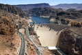 Aerial view of Hoover Dam ,Colorado River Stock Image