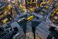Aerial view of intersection in Ginza, Tokyo, Japan at night Royalty Free Stock Photo