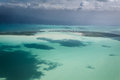 Aerial view of key or caye caulker on the barrier reef off the coast of belize in caribbean Stock Images