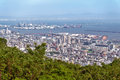 Aerial view of Kobe city and Port Island of Kobe from Mount Rokko, skyline and cityscape of Kobe, Hyogo Prefecture, Japan Royalty Free Stock Photo