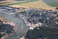 Aerial view of la conner washington the small town in skagit county showing the rainbow bridge over the swinomish channel Royalty Free Stock Photos