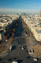 Aerial view of la grande armee avenue from arc de triomphe with business district defense in the distance Stock Photos