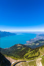 Aerial view of Lake Geneva from Rochers-de-Naye Royalty Free Stock Photo
