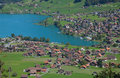 Aerial view of lake Lungernsee Royalty Free Stock Images