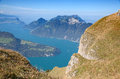 Aerial view of lake luzern vierwalderstattersee surrounded by montains Royalty Free Stock Images