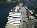 Aerial view of large cruise ship near the pier Royalty Free Stock Photo