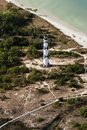 Cape lookout lighthouse view from airplane Royalty Free Stock Photo
