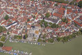 Aerial view of lindau at lake constance from a zeppelin over the bodensee Royalty Free Stock Photos