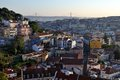 Aerial view of lisbon portugal at sunset with bridge april Royalty Free Stock Photography