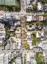 Aerial View of Lombard Street and San Francisco Royalty Free Stock Photo