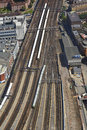 Aerial view of London Bridge station platforms and trains Royalty Free Stock Photo