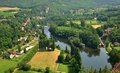 Aerial view of the lot river in france as seen from saint cirq lapopie Royalty Free Stock Images