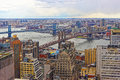 Aerial view of lower manhattan in new york usa brooklyn bridge and bridge over east river brooklyn heights on the Royalty Free Stock Photos