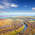 Aerial view lowland under clouds autumn Stock Photo