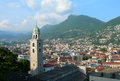 Aerial view of lugano switzerland landmark church tower in with surrounding swiss alps Royalty Free Stock Photo